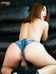 GroobyNewbie Sky is a gorgeous Asian tgirl with an amazing body, beautiful face, sexy small tits and a nice uncut cock! Join this horny transgirl as s