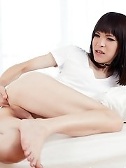 Japanese Shemale Yui Kawai Stroking Her Small Cock And Fingering Her Ass